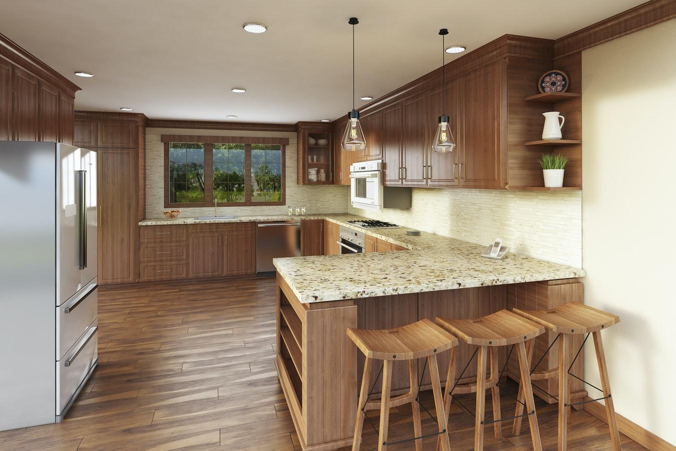 do hardwood floors go under kitchen cabinets